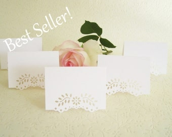 Escort Cards Blank ~ Wedding Placecards - Eyelet Vine/ Lace Tent Place Cards, Seating Card, Free Standing, Placecards Wedding