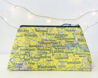 Sunny yellow London map wash bag/toiletries/make up storage.