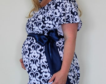 Maternity Hospital Soft Knit Gown in Bryte - 2X Snaps Back and Shoulders - Perfect for Nursing and Skin to Skin  - Ready to Ship