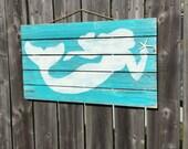 Mermaid Pallet Wood Sign LARGE Coastal Beach and Nursery Decor