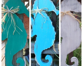 Seahorse Wooden Wall Art  Nautical Beach or Nursery Decor Any Color you like