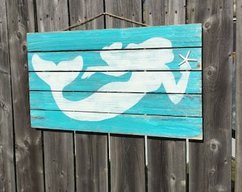 Mermaid Pallet Wood Sign LARGE Coastal Beach and Nursery Decor