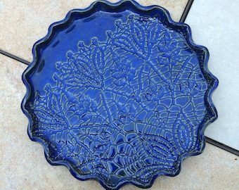 Stoneware Lace Plate 9 inch Blue