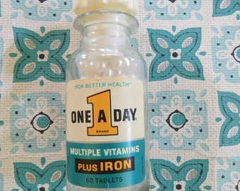 FUN Vintage Vitamin Bottle with Pearly Beads