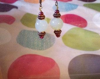 Aventurine and Garnet, copper Earrings
