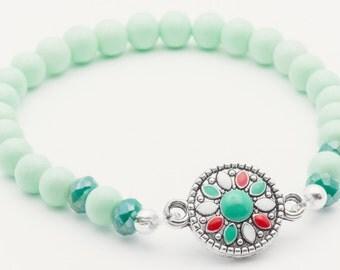 Mint Boho Bracelet, Green, Boho Bracelet, Stretch