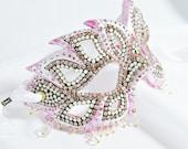Masquerade Ball Mask - Pink and White Mask - Rhinestone Masquerade Mask - Wedding Mask - Prom Mask - Paper Mache Mask
