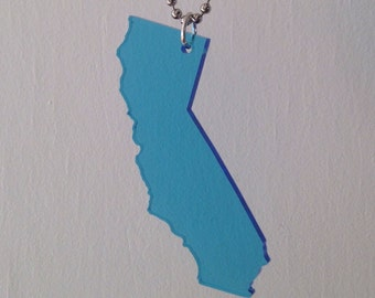 California Acrylic Necklace in Light Blue, State Jewelry, Large Size