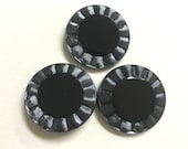 Gunmetal Blue & Black Czech Glass Buttons 40mm Metal Loop Shank Steampunk Large Buttons for Coat or Cape