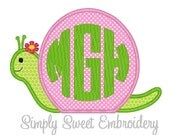 Girl Snail Machine Embroidery Applique Design