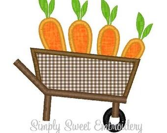 Carrot Wheelbarrow Machine Embroidery Applique Design