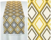 Yellow Table Runner Diamond Vintage Geometric Runner Table Centerpiece Wedding Decor Linens Reception Shower Custom Runner