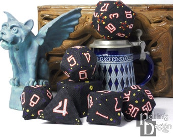 RPG Dice Set of Seven 3D Cross Stitch Sewing Patterns PDF
