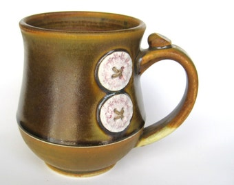 Brown Coffee / Tea mug with two buttons, IN STOCK