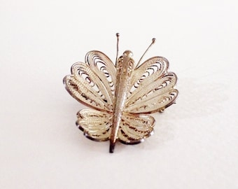 Vintage Straits silver filigree butterfly brooch pin - 1940s