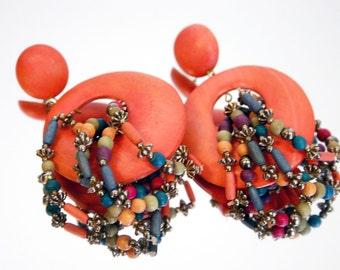 Vintage 1970s-80s Orange Wooden Drop Earrings with beads