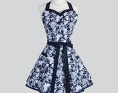 Sweetheart Retro Aprons - Womens Flirty Cute Kitchen Cooking Indigo Navy Blue and White Butterfly Vintage Full Handmade Hostess Womans Apron