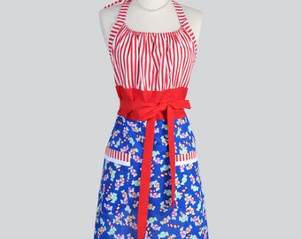 Cute Kitsch Retro Apron . Christmas Candy and Red Stripes Handmade Chef Cute Womens Apron
