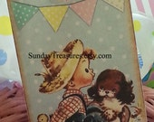 6 PAK Vintage Happy Easter Tags / Adorable Vintage Boy Puppy Dog Chicks / Favor Gift Basket Tag / Gift Box Tag / Personalized / 1-2 Day Ship