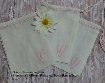 10 QTY BLOWOUT SAlE / Pink Scribbled HEART Hand Stamped 4x6 Muslin Drawstring Favor Candy Bag / Valentines / Teacher Classmates / 3 Day Ship