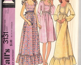 Vintage 1972 McCall's 3131 Sewing Pattern Misses' Dress Size 10 Bust 32-1/2