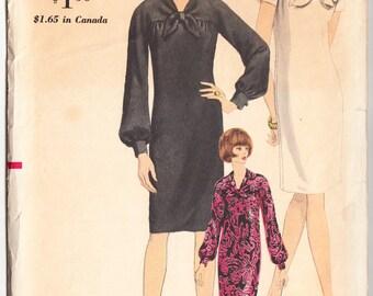 Vintage 1966 Vogue 6848 Sewing Pattern Misses' One-Piece Dress Size 12 Bust 32