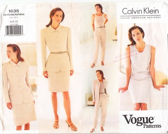 Classic 1995 Vogue American Designer 1635 Calvin Klein UNCUT Sewing Pattern Misses' Blouse Size 6-8-10 Bust 30-1/2 - 31-1/2 - 32-1/2