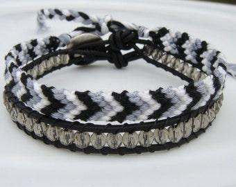 Gray Beaded Leather Bracelet and Chevron Friendship Bracelet Set