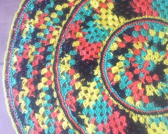 Crochet Rug   9 Kaleidoscope Plastic Rug Recycled Rug Hand Crocheted Decor  Rug Multicolor Rug Colorful