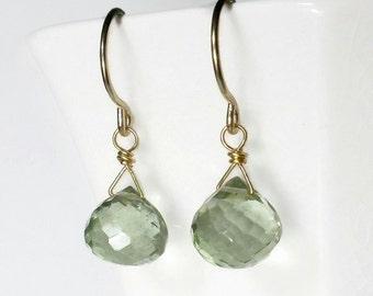 Sage Green Drop Earring, Briolette Earring, Gold Filled or Sterling Silver