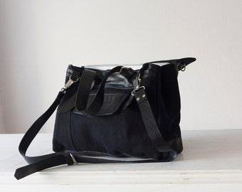 Women laptop file tote bag in black canvas  and leather, shoulder bag large crossbody purse work bag- Ophelia bag