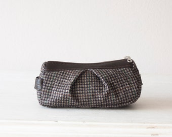 Makeup bag brown plaid wool and leather, accessory bag cosmetic case accessory bag utility case - Estia bag