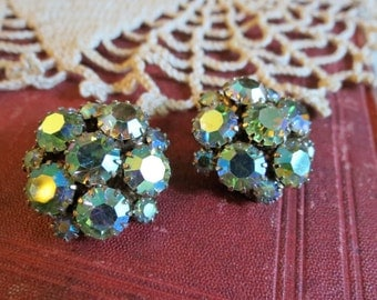 Vintage AB Glass Stone Cluster Clip Back Earrings