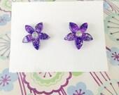 Purple Flower Earrings - Sparkling Blooms - beach jewelry - SALE - perfect gift - Summer - bridesmaids - weddings - sale