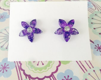 Purple Flower Earrings - Sparkling Blooms - beach jewelry - SALE - perfect gift - Summer - bridesmaids - weddings - sale
