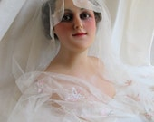Exquisite 1920s Pastel Embroidered Cream Silk Veil Wrap Shawl Scarf Wedding Bridal Pink Cream Blue Chain Stitch Flowers