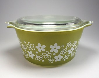 PYREX Spring Blossom Green, Round Casserole with Lid, 443, 1 Quart,  Replacement, 1972 to 1978