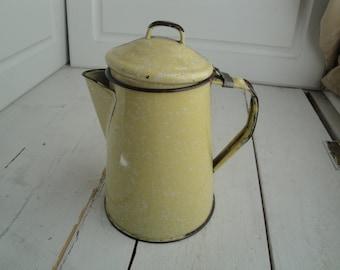 Vintage Enamel Coffee Pot Stove top Splatterware Yellow