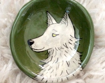 Dog / Wolf  Hand Painted Pinch Pot by Lora Shelley