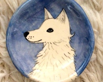 White Dog / Wolf  Hand Painted Pinch Pot by Lora Shelley