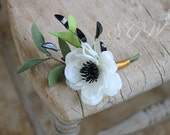 Reserved for Shannon - Art Deco Anemone Boutonniere - Black White and Gold