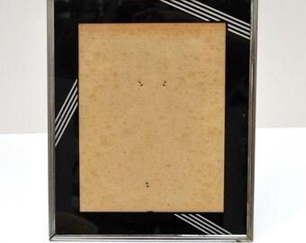 "Antique Art Deco picture frame 1920s black mat, reverse painted glass, metal frame for 8"" x 10"" photo Art Deco design"