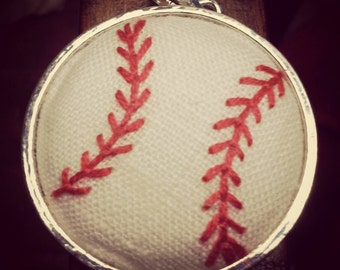 Hand Embroidered Baseball Pendant