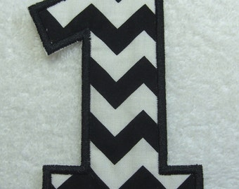 Number 1 Iron on Fabric Embroidered Iron On Applique Patch (Black/White Chevron)