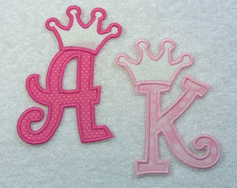 Crown Monogram Fabric Embroidered Iron On Applique Patch MADE TO ORDER