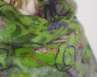 50% off with coupon code-Nuno Felted Scarf Shawl Wrap  Apple green Violet Embroidered Art Unique OOAK