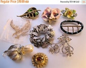 HALLOWEEN SALE Vintage Craft Lot #21 of Brooch Pin Jewelry or Wearable 9 pieces Jewellery Wedding Bouquet