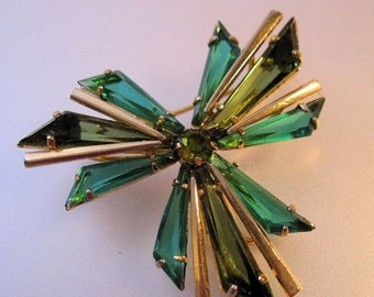 MOTHERS DAY SALE Austrian Two Tone Green Crystal Brooch 1950s Vintage Jewelry Jewellery