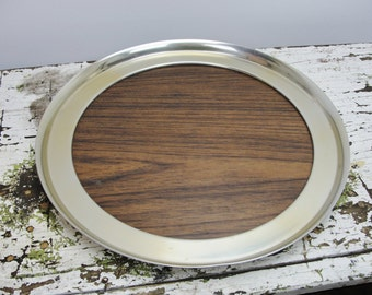 Mid Century Buehner Wanner Serving tray, woodgrain formica tray, round serving tray