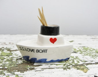 Vintage S. S. Love Boat toothpick holder by Enesco Imports Japan